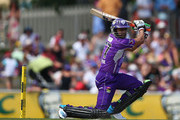 Shoaib Malik of the Hurricanes bats during the Big Bash League match between the Hobart Hurricanes and Sydney Thunder at Blundstone Arena on January 11, 2014 in Hobart, Australia.