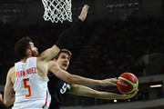 Nicolas Brussino #9 of Argentina shoots against Rudy Fernandez #5 of Spain during a Men's Basketball Preliminary Round Group B game between Spain and Argentina on Day 10 of the Rio 2016 Olympic Games at Carioca Arena 1 on August 15, 2016 in Rio de Janeiro, Brazil.