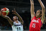 Valeriane Ayayi #11 of France shoots against Brittney Griner #15 of United States during a Women's Semifinal Basketball game between the United States and France on Day 13 of the Rio 2016 Olympic Games at Carioca Arena 1 on August 18, 2016 in Rio de Janeiro, Brazil.