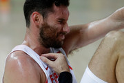 Rudy Fernandez #5 of Spain grimaces during the Men's Semifinal match against the United States on Day 14 of the Rio 2016 Olympic Games at Carioca Arena 1 on August 19, 2016 in Rio de Janeiro, Brazil.