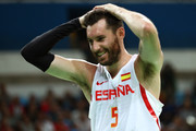 Rudy Fernandez #5 of Spain reacts during the Men's Semifinal match against the United States on Day 14 of the Rio 2016 Olympic Games at Carioca Arena 1 on August 19, 2016 in Rio de Janeiro, Brazil.