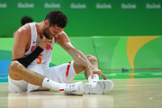 Rudy Fernandez #5 of Spain grimaces on the court during the Men's Semifinal match against the United States on Day 14 of the Rio 2016 Olympic Games at Carioca Arena 1 on August 19, 2016 in Rio de Janeiro, Brazil.