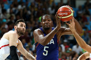 Kevin Durant #5 of United States goes to the basket against Rudy Fernandez #5 of Spain during the Men's Semifinal match on Day 14 of the Rio 2016 Olympic Games at Carioca Arena 1 on August 19, 2016 in Rio de Janeiro, Brazil.
