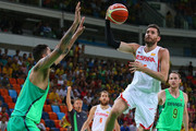 Rudy Fernandez #5 of Spain drives the ball to the net during a preliminary round basketball game between Spain and Brazil on Day 4 of the Rio 2016 Olympic Games at the Carioca Arena 1 on August 9, 2016 in Rio de Janeiro, Brazil.