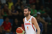 Rudy Fernandez #5 of Spain handles the ball during the Men's Preliminary Round Group B between Spain and Lithuania on Day 8 of the Rio 2016 Olympic Games at Carioca Arena 1 on August 13, 2016 in Rio de Janeiro, Brazil.