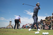 Entertainer Mark Wahlberg practices prior to the start of the second round of the PGA TOUR Champions Bass Pro Shops Legends of Golf at Big Cedar Lodge on April 27, 2019 in Ridgedale, Missouri.