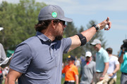 Entertainer Mark Wahlberg waves to the gallery on the ninth hole of the second round of the PGA TOUR Champions Bass Pro Shops Legends of Golf at Big Cedar Lodge on April 27, 2019 in Ridgedale, Missouri.