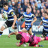 David Sisi Photos - David Sisi (L)  of Bath avoids the challenge from Nathan Morris of London Welsh during the LV=Cup match between Bath Rugby and London Welsh at the Recreation Ground on November 1, 2014 in Bath, England. - Bath Rugby v London Welsh - LV= Cup