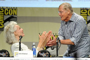 "Actors Julie Newmar and Adam West attend the ""Batman: The Complete Series"" DVD release presentation during Comic-Con International 2014 at the San Diego Convention Center on July 24, 2014 in San Diego, California."
