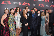 "(L-R) Deborah Snyder, Diane Lane, Gal Gadot, Amy Adams, Ben Affleck, Zack Snyder, Henry Cavill, Jesse Eisenberg,  Holly Hunter, Tao Okamoto, and Charles Roven attend the ""Batman V Superman: Dawn Of Justice"" New York Premiere at Radio City Music Hall on March 20, 2016 in New York City."