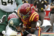 Quarterback Seth Russell #17 of the Baylor Bears scores a touchdown as defensive back Mike Johnson #3 of the Iowa State Cyclones blocks in the first half of play at Jack Trice Stadium on October 1, 2016 in Ames, Iowa.