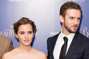 """Actress Emma Watson and actor Dan Stevens attend the UK Premiere of """"Beauty And The Beast"""" at Odeon Leicester Square on February 23, 2017 in London, England."""