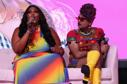 Lizzo, Alok V. Menon speak on a panel onstage at Beautycon Festival NYC 2018 - Day 1 at Jacob Javits Center on April 21, 2018 in New York City.