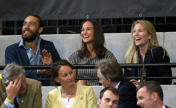 James Middleton, Pippa Middleton and Autumn Phillips watch the wheelchair rugby at the copperbox at Queen Elizabeth park on September 12, 2014 in London, England. The International sports event for 'wounded warriors', is presented by Jaguar Land Rover, with limited last-minute tickets available at www.invictusgames.org.