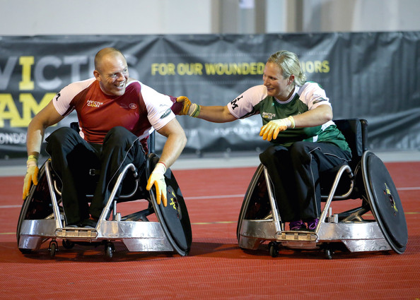 Zara Phillips and Milke Tindall compete against each other in a warm up wheelchair rugby match ahead of tonight's exhibition match as part of the Invictus Games at Queen Elizabeth park on September 12, 2014 in London, England. The International sports event for 'wounded warriors', is presented by Jaguar Land Rover, with limited last-minute tickets available at www.invictusgames.org.