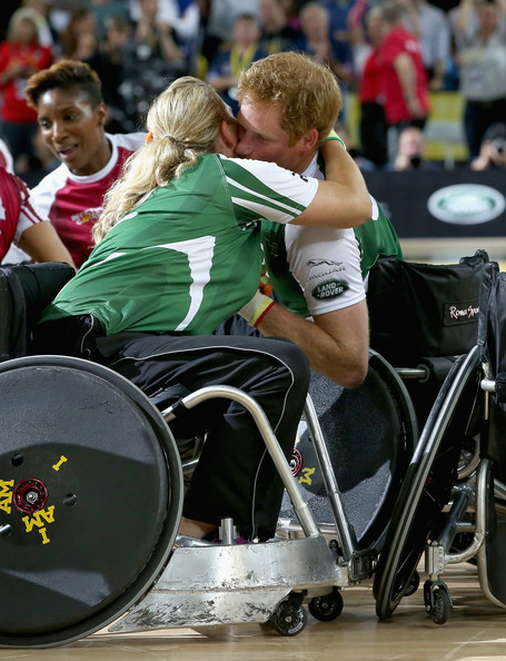Prince Harry and Zara Phillips hug as they compete in an Exhibition wheelchair rugby match at the Copper Box ahead of tonight's exhibition match as part of the Invictus Games at Queen Elizabeth park on September 12, 2014 in London, England. The International sports event for 'wounded warriors', presented by Jaguar Land Rover, is just days away with limited last-minute tickets available at www.invictusgames.org