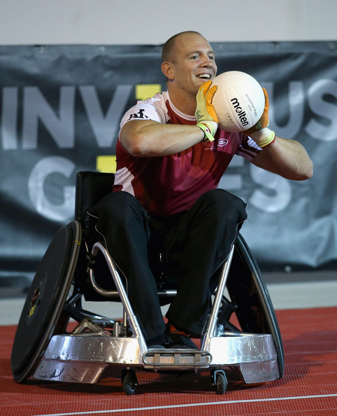 Milke Tindall competes in a warm up wheelchair rugby match ahead of tonight's exhibition match as part of the Invictus Games at Queen Elizabeth park on September 12, 2014 in London, England. The International sports event for 'wounded warriors', is presented by Jaguar Land Rover, with limited last-minute tickets available at www.invictusgames.org.