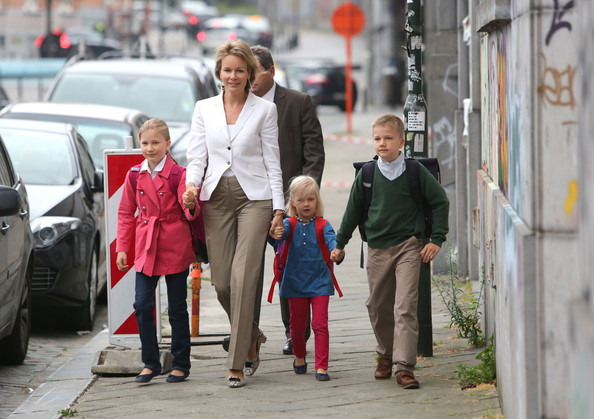 Princess Elisabeth, Princess Mathilde, Princess Eleonore and Prince Gabriel of Belgium attend first day at school at Sint Jan Berghmans College on September 3, 2012 in Brussels, Belgium.