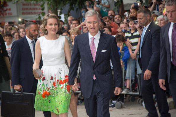 Queen Mathilde and King Philippe of Belgium attend National Day at Place des Palais on July 21, 2014 in Brussel, Belgium.