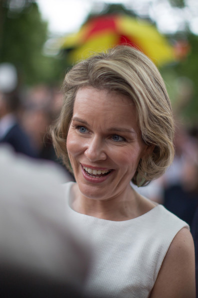 Queen Mathilde of Belgium attends National Day at Place des Palais on July 21, 2014 in Brussel, Belgium.
