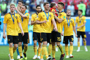 Belgium players celebrate following their sides victory in the 2018 FIFA World Cup Russia 3rd Place Playoff match between Belgium and England at Saint Petersburg Stadium on July 14, 2018 in Saint Petersburg, Russia.