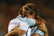 Nikita Parris of England celebrates scoring her teams first goal of the game with Jill Scott during the UEFA Women's Euro 2017 Qualifier between Belgium and England held at Stadium Den Dreef Oud Heverlee Leuven on September 20, 2016 in Leuven, Belgium.