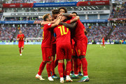 Romelu Lukaku of Belgium celebrates with teammates after scoring his team's third goal during the 2018 FIFA World Cup Russia group G match between Belgium and Panama at Fisht Stadium on June 18, 2018 in Sochi, Russia.