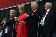 (L-R) French Foreign Minister Didier Reynders, Belgium's  Queen Mathilde, Belgium's King Philippe attend the 2018 FIFA World Cup Russia Semi Final match between Belgium and France at Saint Petersburg Stadium on July 10, 2018 in Saint Petersburg, Russia.