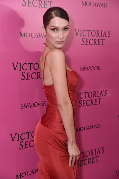 2017 Victoria's Secret Fashion Show In Shanghai - After Party [shoulder,clothing,dress,beauty,hairstyle,premiere,pink,fashion,joint,cocktail dress,bella hadid,shanghai,china,mercedes-benz arena,party,victorias secret fashion show]