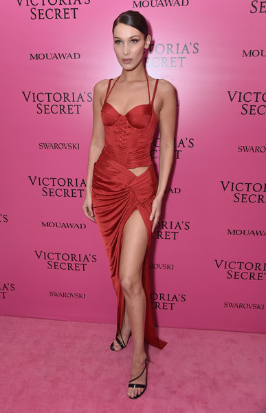 2017 Victoria's Secret Fashion Show In Shanghai - After Party [fashion model,clothing,cocktail dress,dress,fashion,shoulder,pink,hairstyle,leg,lip,bella hadid,shanghai,china,mercedes-benz arena,party,victorias secret fashion show]