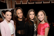 (L-R) Dancers Kendall Vertes, Nia Sioux Frazier, Kalani Hilliker and Maddie Ziegler attend Miss Me and Cosmopolitan's Spring Campaign Launch Event Hosted by Bella Thorne at The Terrace at Sunset Tower Hotel in Los Angeles on February 3, 2016.