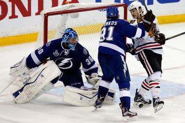 Ben Bishop Andrew Shaw 2015 NHL Stanley Cup Final - Game Five
