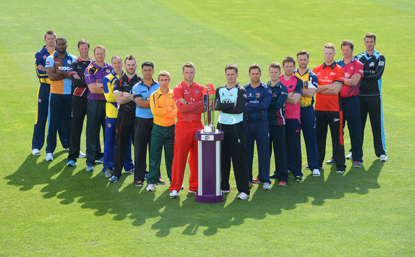 NatWest T20 Blast Player Photo Call [team,social group,team sport,player,sport venue,championship,sports,stadium,competition event,competition,chesney hughes,mike hogan,andrew gale,marcus trescothick,l-r,surrey,somerset,yorkshire,glamorgan,natwest t20 blast player photocall]