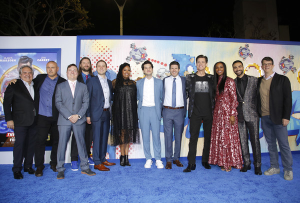 """""""Sonic The Hedgehog"""" LA Special Screening [sonic the hedgehog,social group,event,community,team,tourism,leisure,businessperson,management,suit,tim miller,toby ascher,josh miller,pat casey,jeff fowler,jim gianopulos,l-r,paramount,la special screening,jeff fowler,jim carrey,jim gianopulos,tika sumpter,sonic the hedgehog,paramount pictures,getty images,photography,stock photography]"""