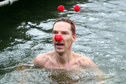 Benedict Cumberbatch supports Red Nose Day by swimming in cold water for Mental Health programmes on March 15, 2019 in London, England.