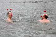 Benedict Cumberbatch supports Red Nose Day by swimming in cold water for Mental Health programmes, with Zander Woollcombe of United Global Mental Health on March 15, 2019 in London, England.