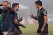 Ben Youngs (R) of Leicester Tigers celebrates after a second try with George Ford during the Heineken Cup match between Benetton Treviso and Leicester Tigers at Stadio comunale di Monigo on December 15, 2012 in Treviso, Italy.