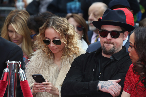 Lionel Richie Hand And Footprint Ceremony [lionel richie hand and footprint ceremony,nicole richie,benji madden,eyewear,people,sunglasses,glasses,event,crowd,human,beard,vision care,facial hair,california,hollywood,tcl chinese theatre]