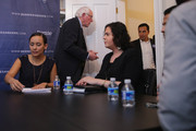 Democratic presidential candidate Sen. Bernie Sanders (I-VT) (C) leaves after hosting an internet live stream discussion about putting families first in developing immigration policy with  his Latino Outreach Strategist Erika Andiola (L) and Catalina Velasquez at his campaign office December 7, 2015 in Washington, DC. Sanders heard from 'Dreamers,' undocumented immigrants who were brought to the United States by their parents when they were children, members of the immigrant LGBT community, and a former hunger striker, all of whom asked the senator to support immigration reform.