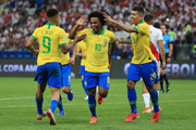 Willian of Brazil celebrates after scoring the fifth goal of his team during the Copa America Brazil 2019 group A match between Peru and Brazil at Arena Corinthians on June 22, 2019 in Sao Paulo, Brazil.