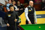 Ding Junhui of China eyes up a shot in his match against Mark King of England during the Betfair World Snooker Championship at the Crucible Theatre on April 29, 2013 in Sheffield, England.