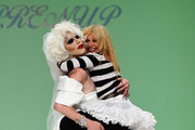Sharon Needles and designer Betsey Johnson walk the runway at the Betsey Johnson fashion show during Mercedes-Benz Fashion Week Spring 2015 at The Salon at Lincoln Center on September 10, 2014 in New York City.