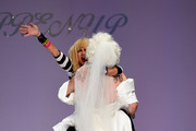 Designer Betsey Johnson and Sharon Needles walk the runway at the Betsey Johnson fashion show during Mercedes-Benz Fashion Week Spring 2015 at The Salon at Lincoln Center on September 10, 2014 in New York City.