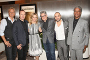 "(L-R) Actors Patrick Fabian, Bob Odenkirk, Rhea Seehorn, executive producer Peter Gould, actor Michael Mando and film critic Elvis Mitchell attend the ""Better Call Saul"" ATAS FYC Event at Sony Pictures Studios on April 14, 2016 in Culver City, California."