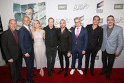 "Javier Grajeda, Patrick Fabian, Rhea Seehorn, Bob Odenkirk, Michael Mando, Peter Gould, Tony Dalton and Vince Gilligan attend the premiere of AMC's ""Better Call Saul"" Season 5 on February 05, 2020 in Los Angeles, California."