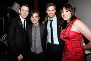 (L-R) Singer/actors Michael Arden, Andy Mientus, Andrew Rannells and Dee Roscioli pose backstage during A Better Holiday benefit concert at Joe's Pub on December 5, 2011 in New York City.