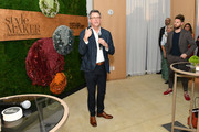 Better Homes & Gardens Editor in Chief, Stephen Orr (L) speaks as Designer Bobby Berk and guests look on during cocktail hour at Better Homes & Gardens Stylemaker 2019 at PUBLIC Hotel on September 19, 2019 in New York City.