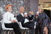 (L-R) Sandy Powell, Carlos Rosario and The Hollywood Reporter's Style and Fashion News Director, Booth Moore speaks onstage at the Beverly Center's Grand Reveal Weekend: Candidly Costumes with The Hollywood Reporter at The Beverly Center on November 2, 2018 in Los Angeles, California.