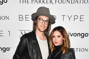 Actress and Beyond LA Host Committee Ashley Tisdale (R) and composer and Beyond LA Host Committee Christopher French attend the Beyond LA Cocktail Party Benefiting Beyond Type 1 at The Avenue on May 5, 2017 in Hollywood, California.
