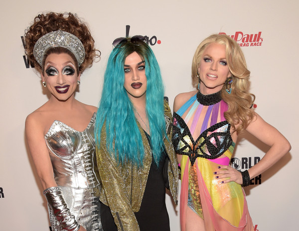 RuPaul's Drag Race Reunion/Finale - Arrivals [hair,fashion,beauty,lady,hairstyle,fun,event,blond,fashion design,costume,finale - arrivals,adore delano,courtney act,bianca del rio,l-r,california,los angeles,orpheum theatre,rupauls drag race reunion,rupauls drag race reunion/finale]